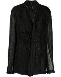 Ann Demeulemeester Semi-sheer Blazer Jacket - Black