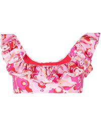 La DoubleJ Top bikini a fiori - Rosa