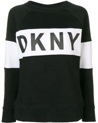 DKNY ロゴストライプ スウェットシャツ - ブラック