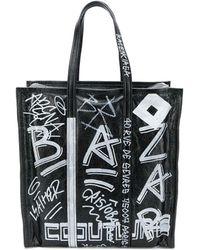 Balenciaga Bazar Graffiti M Shopper Tote - Black