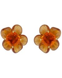 Irene Neuwirth 18kt Yellow Gold One-of-a-kind Tropical Flower Opal And Garnet Studs - Orange