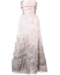 Marchesa notte - Vestido de fiesta palabra de honor sombreado - Lyst