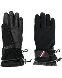 3 MONCLER GRENOBLE Padded Logo Plaque Gloves - Black