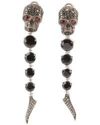 Gavello - Sapphire, Diamond And Ruby Skull Head Earrings - Lyst