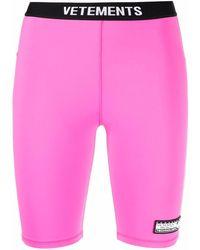 Vetements ロゴ サイクリングショーツ - ピンク
