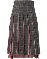 Thom Browne Pleated Mid-length Skirt - Gray