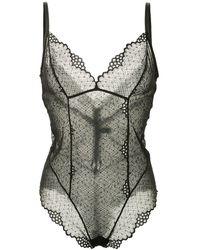 Kiki de Montparnasse Floral Lace Bodysuit - Black