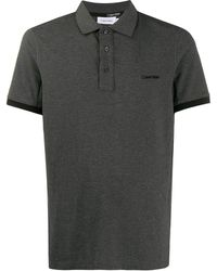 Calvin Klein Poloshirt Met Geborduurd Logo - Grijs