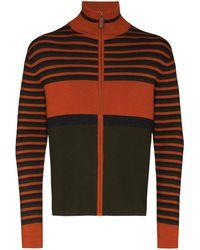 Wales Bonner George horizontal-stripe cardigan - Orange