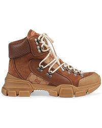 Gucci - Leather And Original Journey GG Trekking Boots - Lyst
