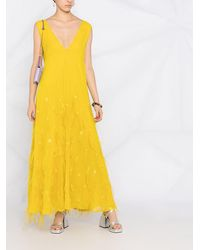 Emilio Pucci Feather-detail V-neck Gown - Yellow