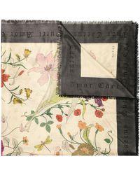 Gucci Sjaal Met Flora Gothic Print - Zwart