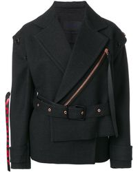 Proenza Schouler Belted Asymmetrical Logo Pull Coat - Черный
