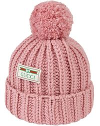 Gucci Wool Hat With Jacquard Label - Pink