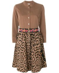 Bazar Deluxe Embroidered Leopard Print Shirt Dress - Brown