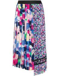 Karl Lagerfeld Asymmetric Pleated Skirt - Blue
