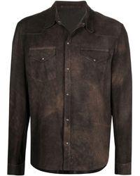 Salvatore Santoro レザー シャツジャケット - ブラウン