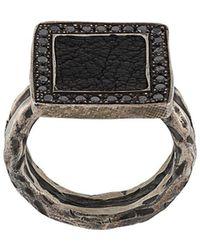 Guidi Square Onyx Ring - Metallic