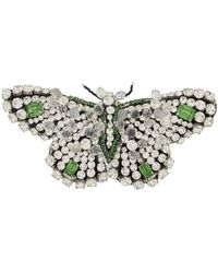 Rochas Crystal Butterfly Brooch - White