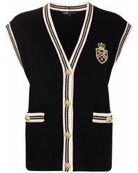 Maje Embellished Logo-patch Vest - Black