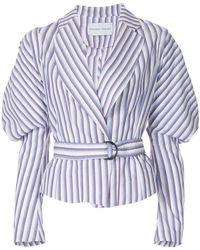 Strateas Carlucci - Cumulus Puff-sleeve Striped Belted Jacket - Lyst