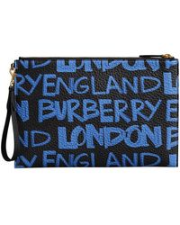 Burberry - Graffiti Print Leather Zip Pouch - Lyst