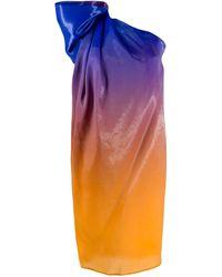 Halpern Ombre One Shoulder Dress - Blue