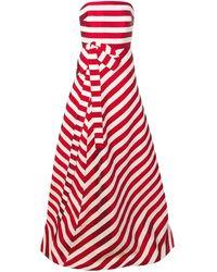 Delpozo ストライプ ベアトップ イブニングドレス - レッド