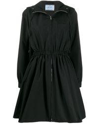 Prada Flared Hooded Coat - Black