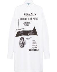 Prada グラフィック シャツドレス - ホワイト
