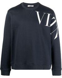 Valentino Vltn Sleeve Print Sweatshirt - Blue