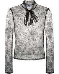 MSGM Sheer Floral-lace Blouse - Black