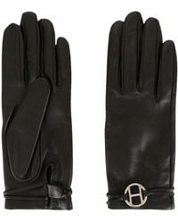 Hermès Pre-owned H Plaque Leather Gloves - Black
