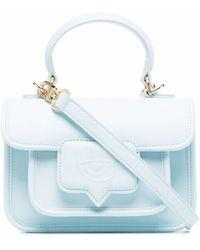 Chiara Ferragni Embossed-logo Faux-leather Mini Satchel - Blue