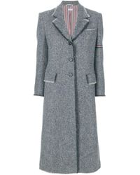 Thom Browne Striped Frayed-edge Overcoat - Gray