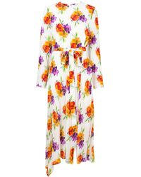 MSGM Платье С Поясом И Цветочным Принтом - Многоцветный
