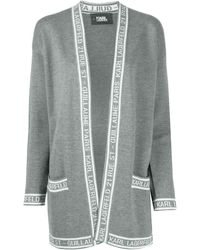 Karl Lagerfeld Intarsia Knit Long-sleeved Cardi-coat - Gray
