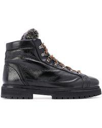 Santoni Lace-up Ankle Boots - Black