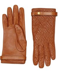 Burberry Cashmere-lined Quilted Monogram Lambskin Gloves - Brown