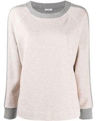 Peserico Two-tone Crew Neck Sweatshirt - Gray