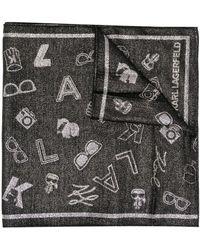 Karl Lagerfeld ロゴ メタリック スカーフ - ブラック