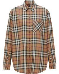 Burberry チェック コットンツイルシャツ - ブラウン