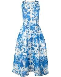 Carolina Herrera Kleid mit Batikmuster - Blau
