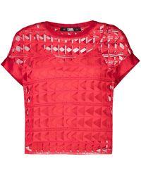 Karl Lagerfeld Сетчатый Топ С Вышивкой - Красный