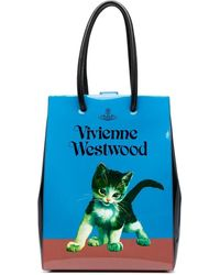 Vivienne Westwood プリント ハンドバッグ - ブルー