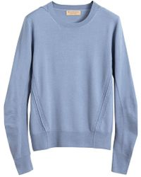 Burberry - Check Detail Merino Wool Sweater - Lyst