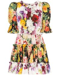 fd6b39b80d Dolce & Gabbana - Vestido corto con motivo floral y manga farol - Lyst