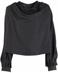 Ports 1961 Cowl-neck Cotton-silk Blouse - Black
