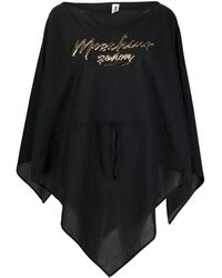 Moschino Poncho Met Logoprint - Zwart