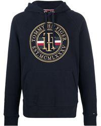 Tommy Hilfiger Hoodie mit Logo-Stickerei - Blau